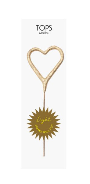 Mini Gold Heart Sparkler 4""
