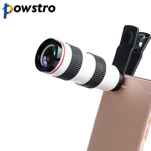 Powstro 8X HD Optical Monocular Telescope Smartphone Lens with Universal Mobile Phone Camera Clip for iPhone X 8 Samsung S8 HTC