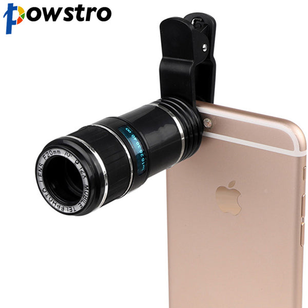 POWSTRO 12X Zoom Mobile Phone Lens Telescope Camera Lens Clip-on For iPhone 7 X 6S plus For Samsung S7 For Xiaomi Smartphones