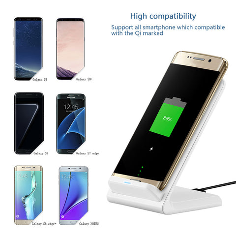 Dual Coils Qi Wireless Fast Charger Stand Pad Output 9V/1.3A 10W For iPhone X/8/8 plus Samsung Galaxy S6/S7/S8/S6 edge/ S7 edge/ S8+/Note5/Note 8/ Nokie 1520/ LG G2/G3/ Nexus 5/6/7 etc