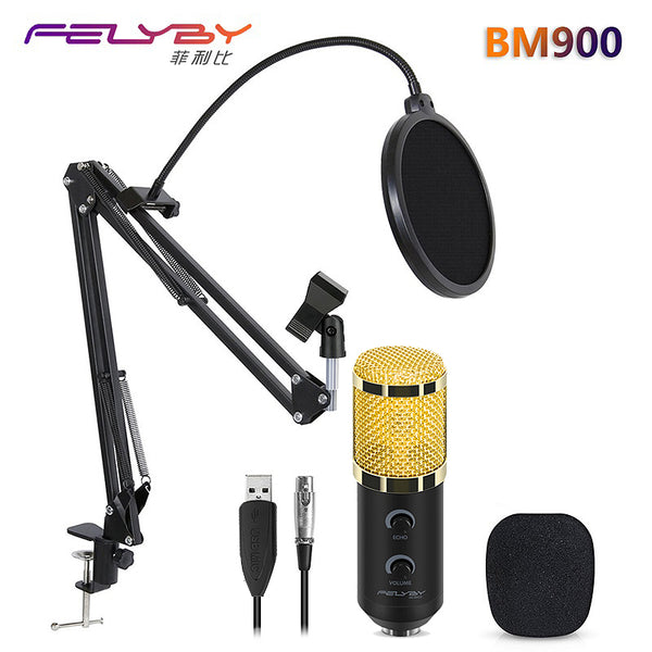 HOT! FELYBY mikrofon bm 800 upgraded bm 900 professional USB studio computer condenser microphone for video recording & Karaoke