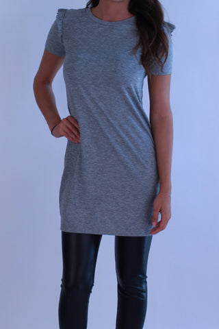 GREY RUFFLE SLEEVE DRESS