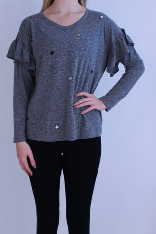 GREY STAR PATCHES RUFFLE TOP