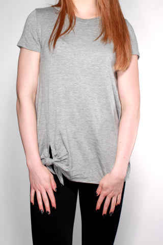 GREY TEE WITH SIDE TIE