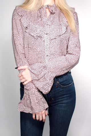 DOTTED RUFFLE BLOUSE