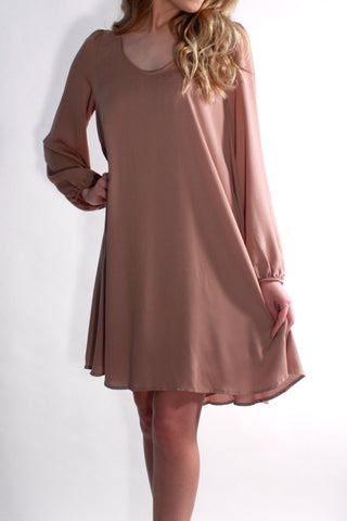 TAN FLOWY DRESS