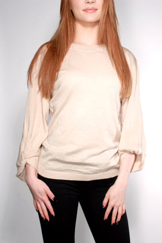 BEIGE SWEATER WITH KNOTTED SLEEVES AND BACK TIE