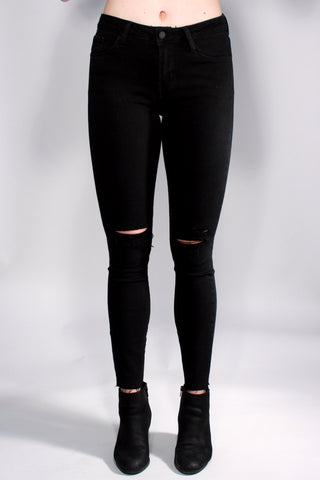 BLACK DISTRESSED HIGH WAIST DENIM