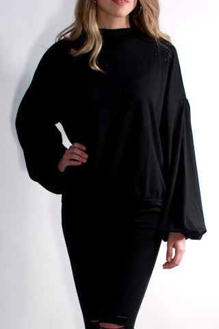 BLACK OVER-SIZED SLEEVE MOCK NECK