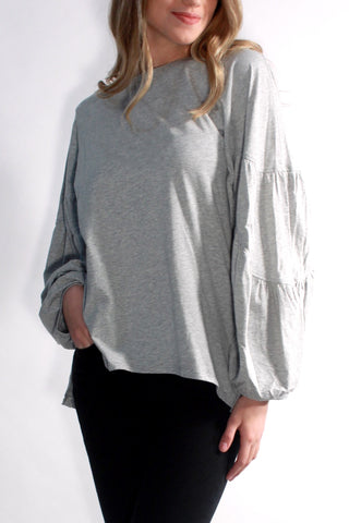 HEATHER GREY OVERSIZED LONG SLEEVE