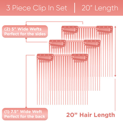 "20"" inch 3 Piece Clip-In Extensions Set 