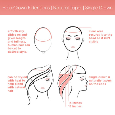 Halo Crown Extensions | Natural Taper | Single Drawn