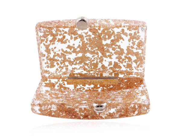 Golden Leaves Acrylic Clutch
