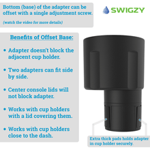 Swigzy Car Cup Holder Expander Adapter with Adjustable Base - Rubber Tabs Hold Most 20 - 40 oz Bottles and Large Cups