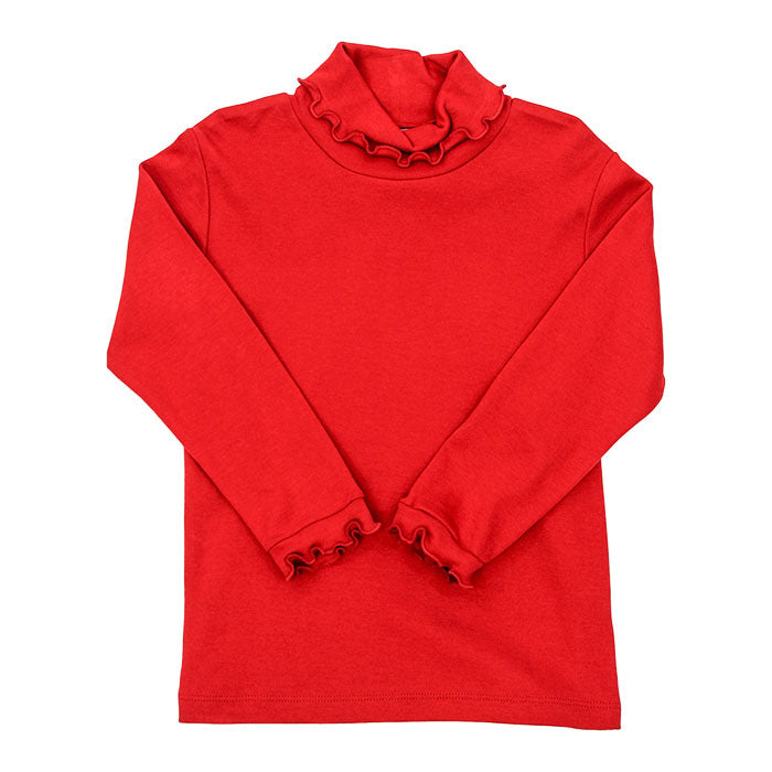 RED KNIT RUFFLE TURTLE NECK (205-TNR)