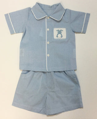 2 PIECE SHORT SET WITH SMOCKED BUNNY - MOMMY & ME