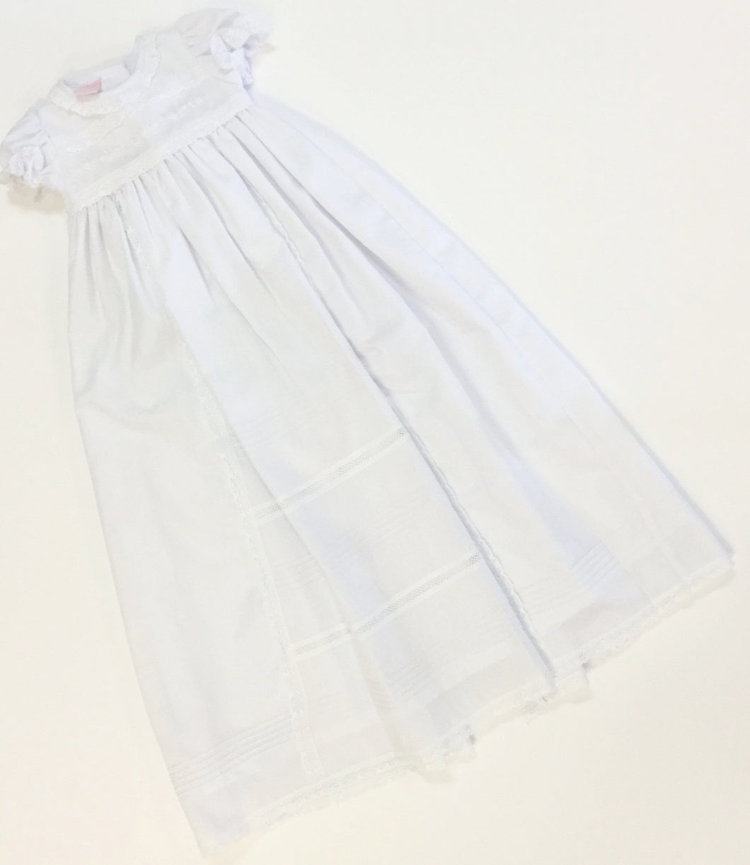 WHITE CROCHET LACE CHRISTENING GOWN AND HAT (006531)