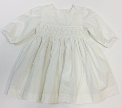 WHITE GEOMETRIC SMOCKED HAND EMBROIDERED CROSS DRESS (020020)