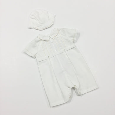 STITCHED ROMPER AND CAP (015368)