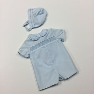 Smocked Romper With Bonnet (013272)