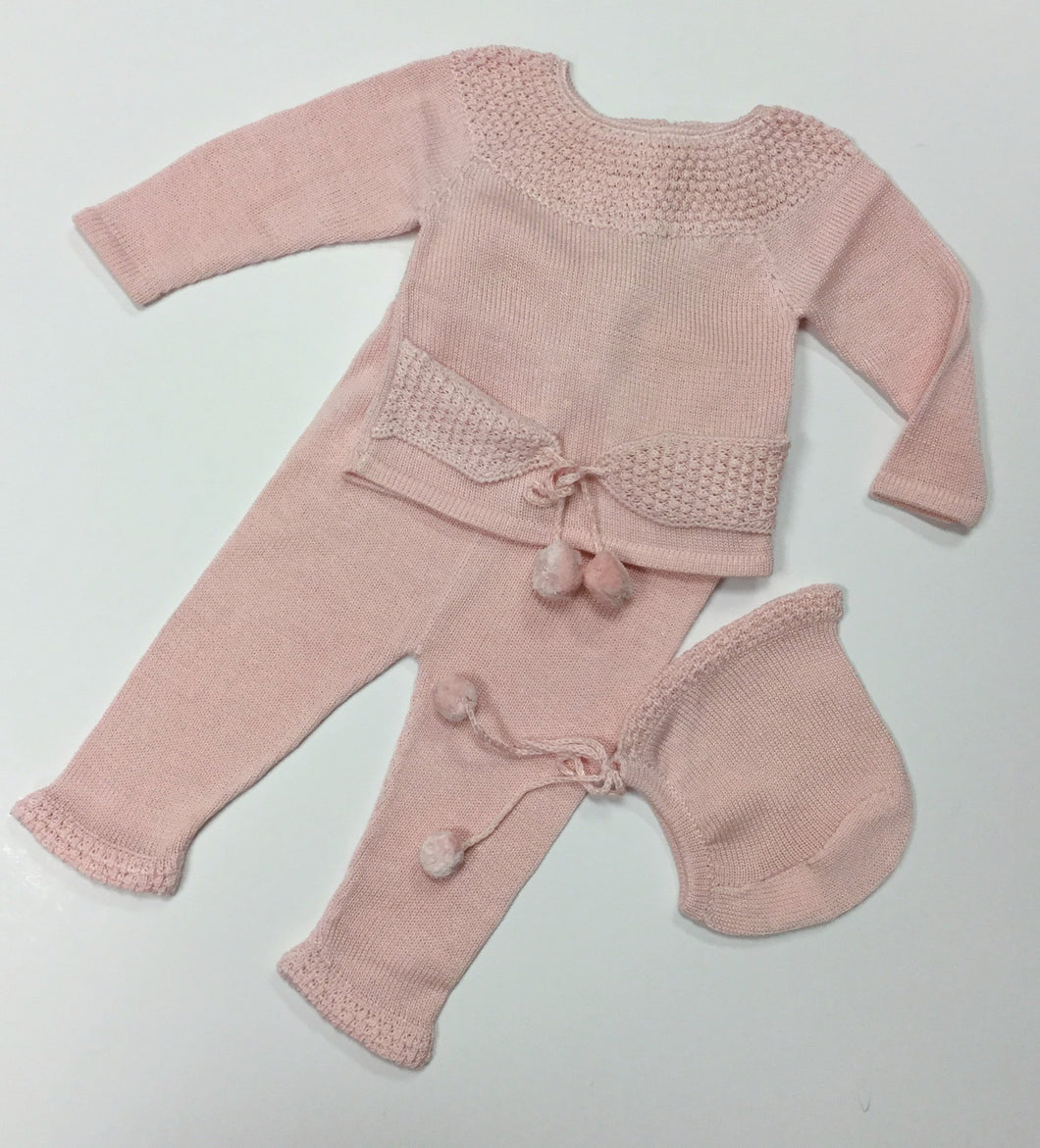 KNIT 3 PIECE PINK OUTFIT (0SP-271)