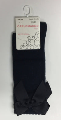 KNEE SOCKS WITH GROSS GRAIN SIDE BOW (2946-0008)