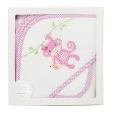 3 MARTHAS - PINK MONKEY BOX HOODED TOWEL SET