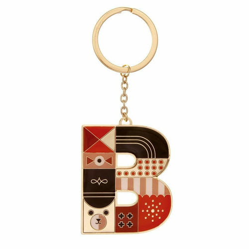 Enamel Monogram Key Chain- B