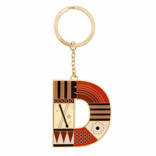 Enamel Monogram Key Chain- D