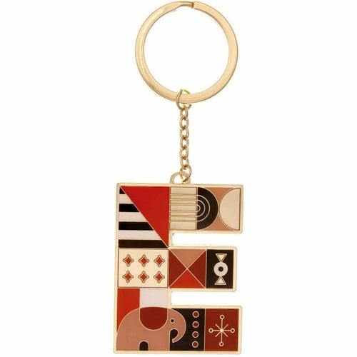Enamel Monogram Key Chain- E