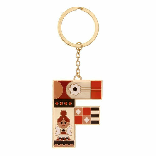 Enamel Monogram Key Chain- F
