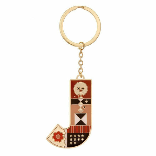 Enamel Monogram Key Chain- J