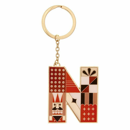 Enamel Monogram Key Chain- N