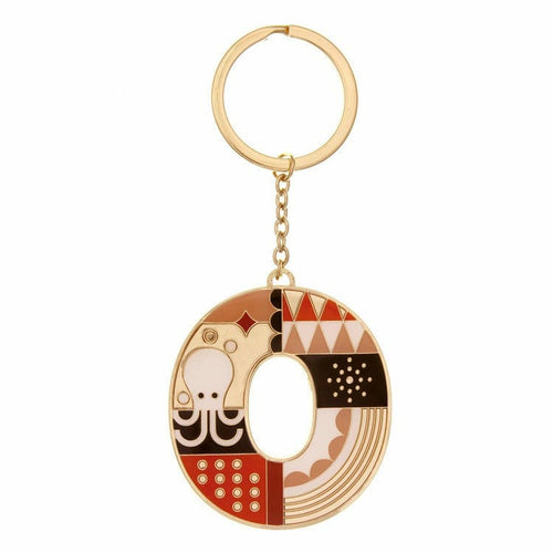 Enamel Monogram Key Chain- O