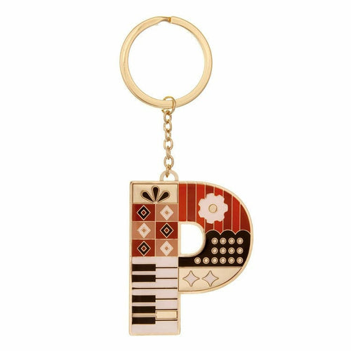 Enamel Monogram Key Chain- P