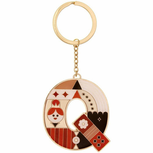 Enamel Monogram Key Chain- Q