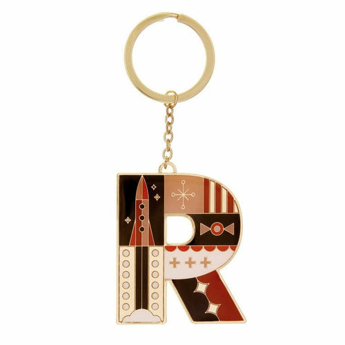 Enamel Monogram Key Chain- R