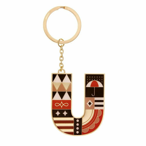 Enamel Monogram Key Chain- U