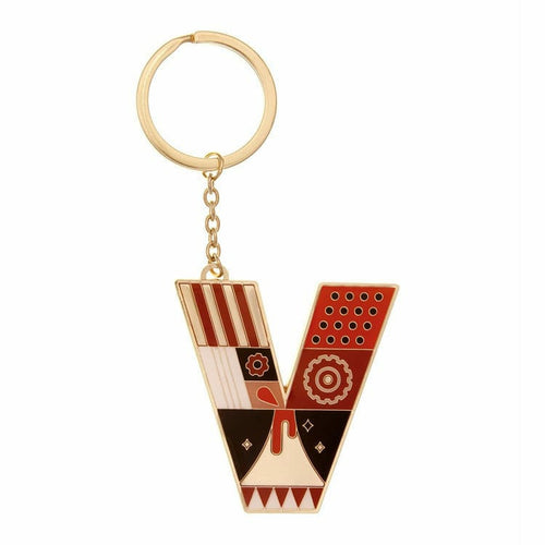 Enamel Monogram Key Chain- V