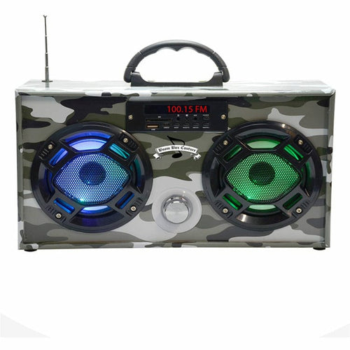 Mini Boombox in Green Camo - Bluetooth Speaker w/ Enhanced FM Radio & LED