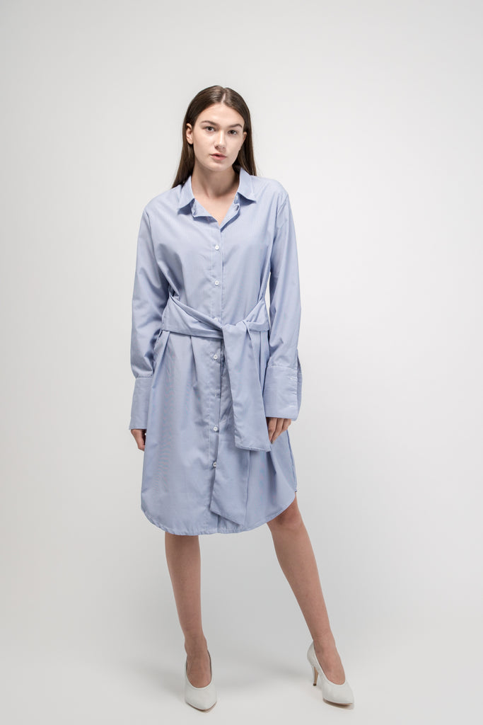 Oversized Waist Tie Shirt Dress Blue