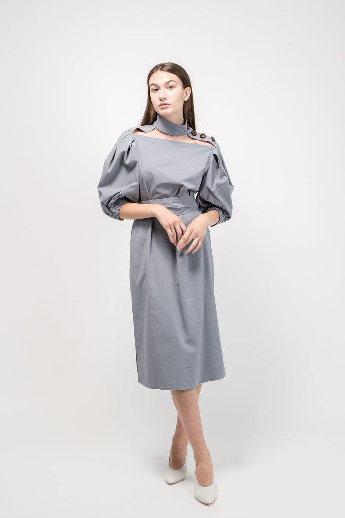 Midi Shirt Dress with Chocker Grey