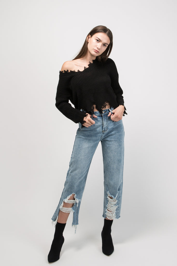 Frayed V Neck Sweater Black