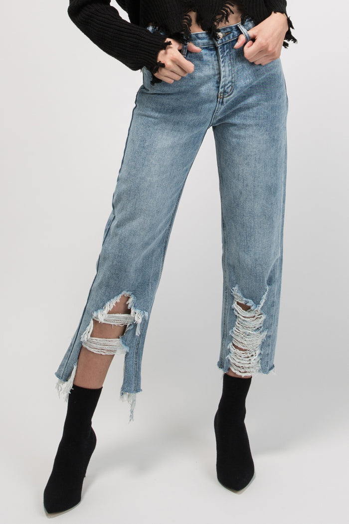 Straight Cut Super Fray Jeans Blue