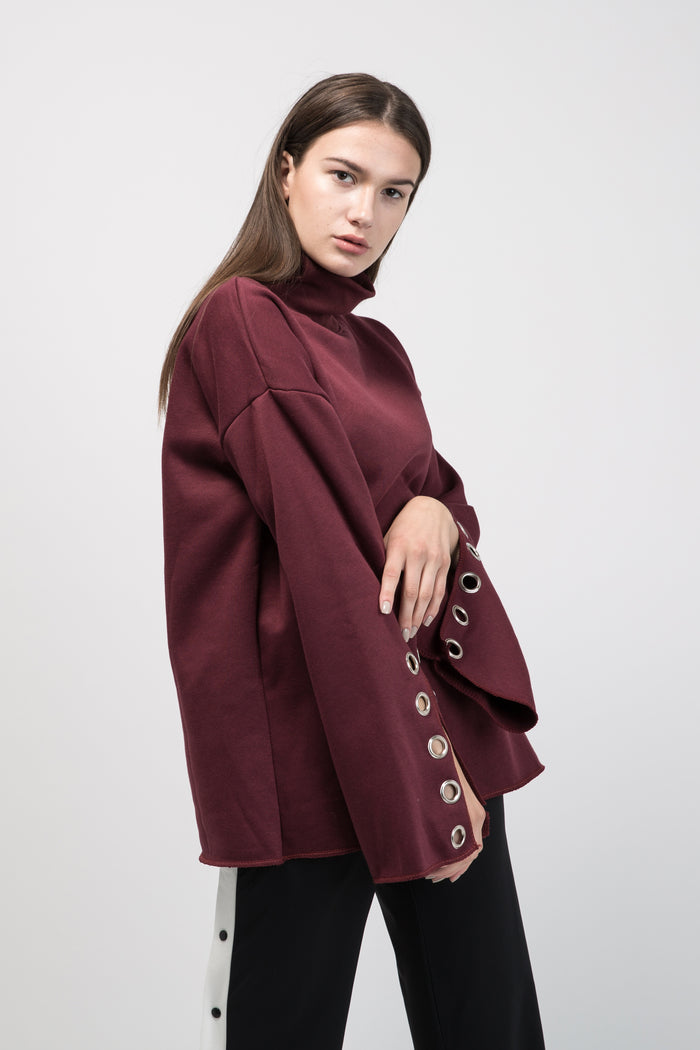 Oversized Sweatshirt Burgundy with Ring on Sleeve