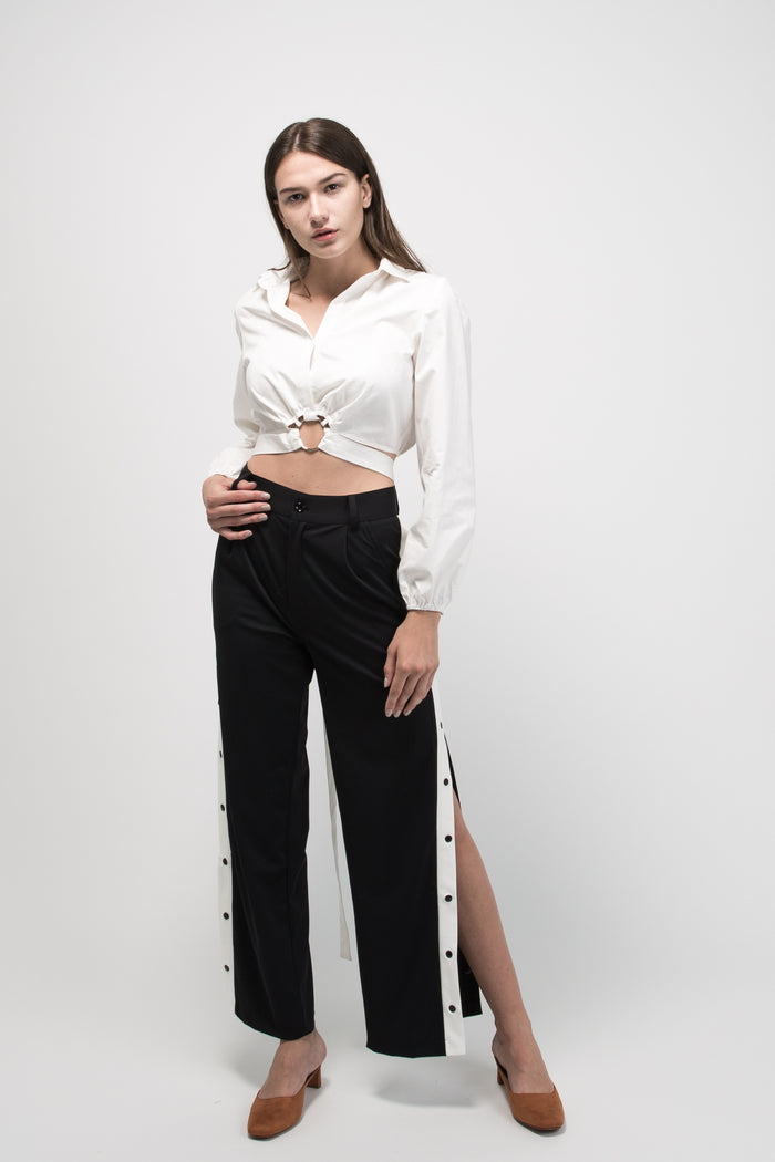 Snap Button Track Pants Black High Slit