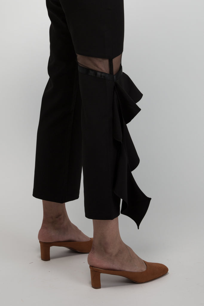 Black Trouser with Side Ruffle