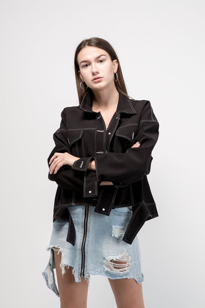 Cropped Denim Jacket Black With Front Flap