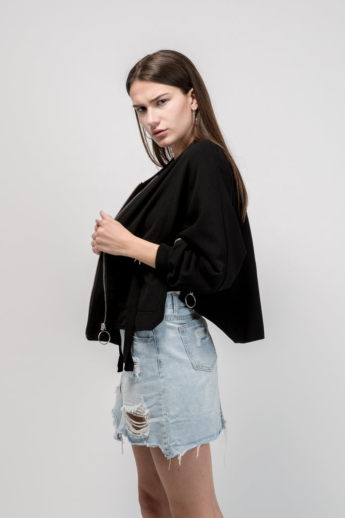 Zipper Detail Poncho Jacket Black