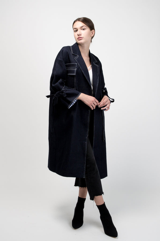 Oversized Denim Maxi Jacket Black
